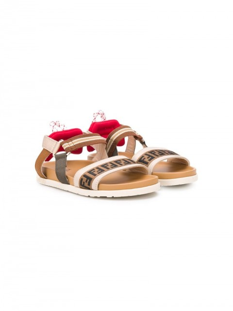 Fendi Kids - FF logo-strap flat sandals - kids - Leather/Polyester/Rubber - 29, 31 - Brown