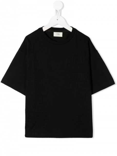 Fendi Kids - round neck T-shirt - kids - Cotton - 4, 8 - Black