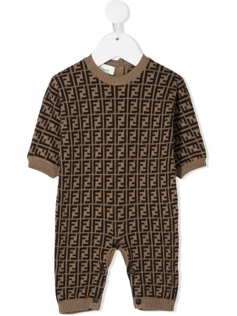 Fendi Kids - FF logo romper - kids - Cotton/Cashmere/Wool - 1, 3, 6, 9, 12, 18, 24 - Neutrals