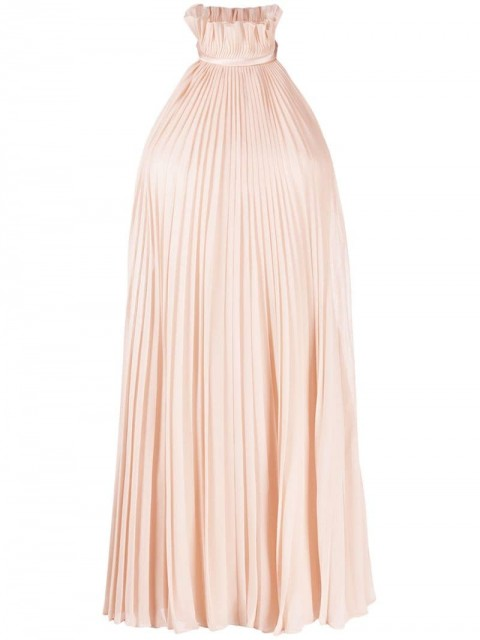Givenchy - pleated halterneck dress - women - Silk/Polyamide - 34 - PINK
