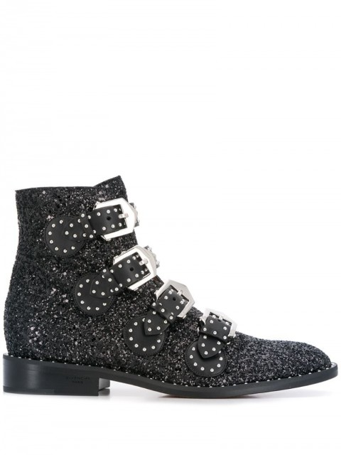 Givenchy - glitter buckle boots - women - Cotton/Leather/Polyester - 39, 36, 37.5 - Black