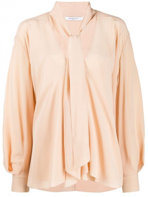 Givenchy - pussy-bow blouse - women - Silk - 38 - Neutrals