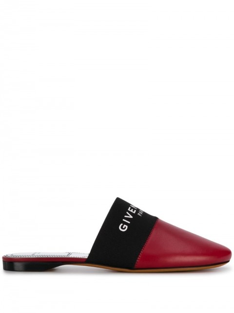 Givenchy - elasticated band flat mules - women - Lamb Skin/Leather/PolyesterPolyester - 36 - Red