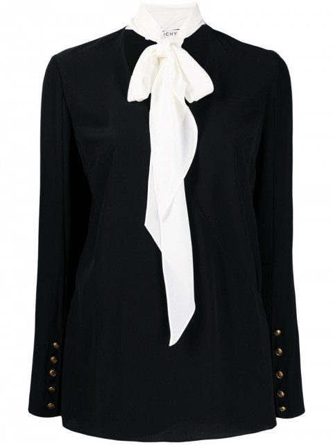 Givenchy - pussy bow detail blouse - women - Silk - 34, 36, 38, 40 - Black