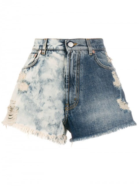 Givenchy - two-tone distressed denim shorts - women - Cotton - 28, 27, 26, 29 - Blue