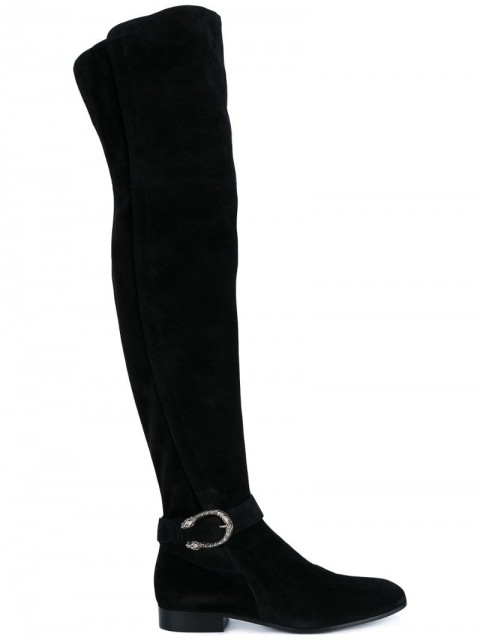 Gucci - Black Suede thigh boots - women - Leather/Suede - 39 - Black