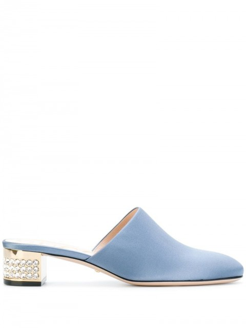 Gucci - embellished low heel mules - women - Polyester/Leather - 37, 40 - Blue