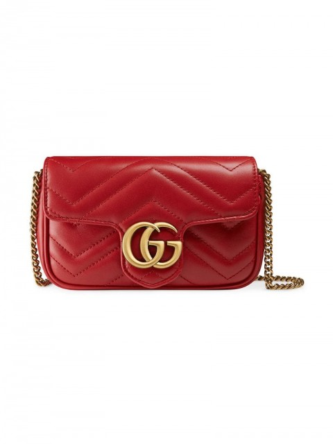 Gucci - GG Marmont matelassé leather super mini bag - women - Leather/metal - One Size - Red