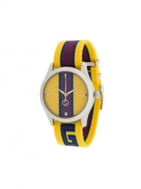 Gucci - GG Web watch - men - Cotton/stainless steel - One Size - yellow