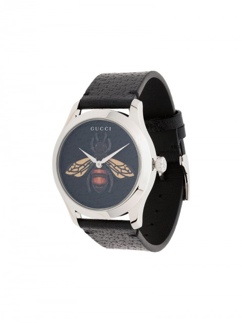 Gucci - G-Timeless bee leather watch - men - Leather/Steel - One Size - Black