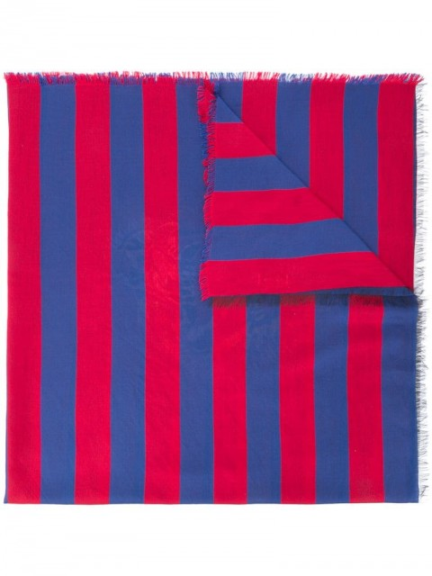Gucci - striped tiger jacquard scarf - men - Cotton/Viscose/Silk - One Size - Blue