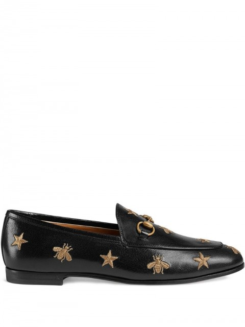 Gucci - Black Gold Jordaan leather loafers - women - Calf Leather - 38, 40, 37, 36, 35, 35.5, 36.5, 41, 38.5, 34, 40.5, 34.5, 39.5 - Black