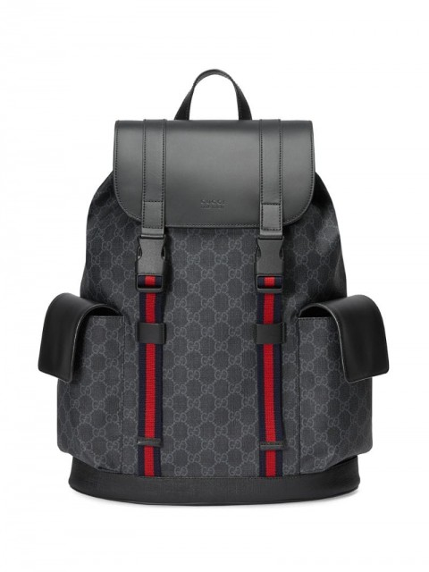 Gucci - GG Supreme pattern backpack - men - Nylon/Leather/Microfibre - One Size - Black