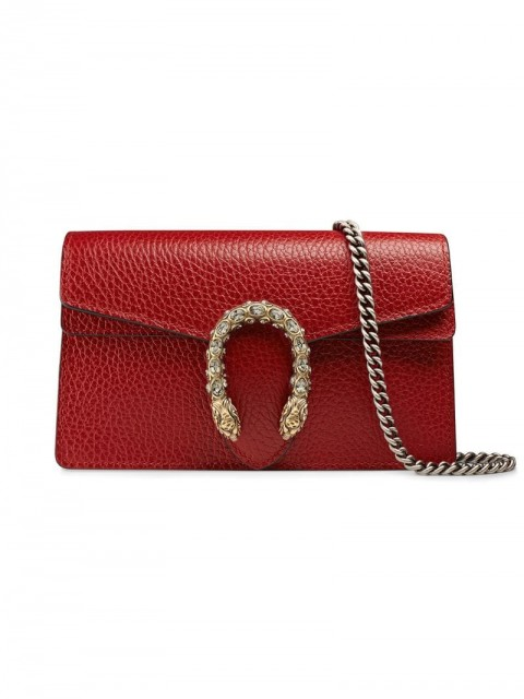 Gucci - Dionysus leather super mini bag - women - Crystal/Leather/metal - One Size - Red