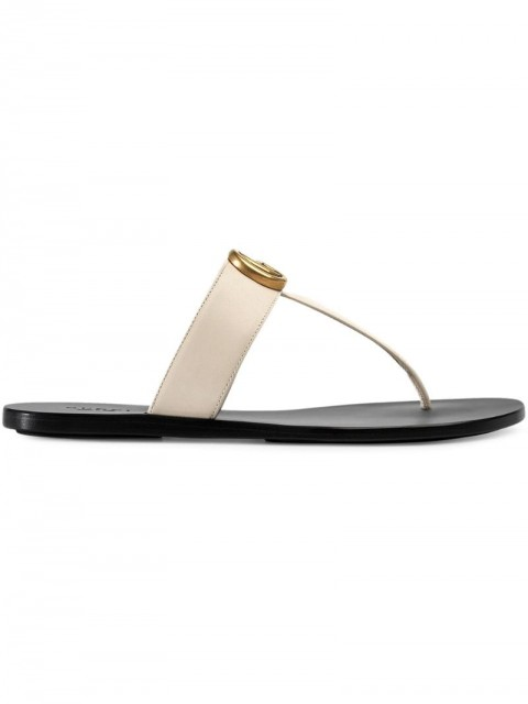 Gucci - Leather thong sandals with Double G - women - Leather - 35.5, 36, 37, 37.5, 39, 39.5, 40, 40.5, 34.5, 41 - White