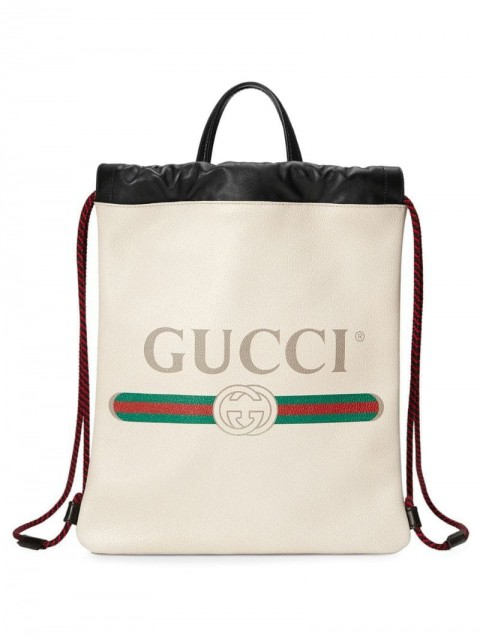 Gucci - Gucci Print small drawstring - men - Leather - One Size - White