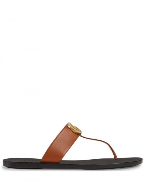 Gucci - Double G thong sandals - women - Leather/Rubber - 35.5 - Brown