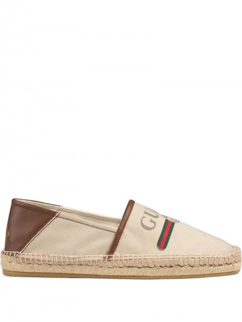 Gucci - Gucci logo canvas espadrille - men - Canvas/Straw/Rubber/Leather - 5, 6, 7, 5,5, 10, 7,5 - Neutrals
