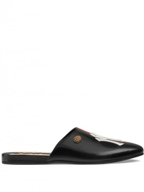 Gucci - Leather slippers with NY Yankees™ patch - men - Leather/Enamel/Satin/Leather - 8,5, 8 - Black