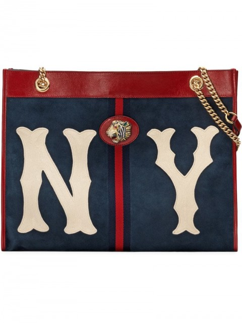 Gucci - Large tote with NY Yankees™ patch - women - Leather/Suede - One Size - Blue
