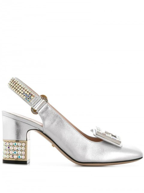 Gucci - crystal G embellished pumps - women - Leather/Patent Leather - 35, 36, 37, 37.5, 38, 39, 41 - SILVER