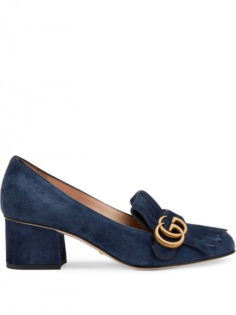 Gucci - Suede mid-heel pump with Double G - women - Leather/Suede - 35.5, 37 - Blue