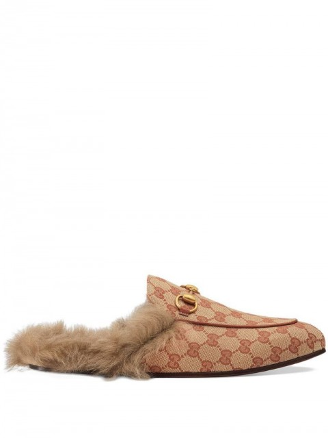 Gucci - Princetown GG canvas slipper - men - Leather/Canvas/Lambs Wool/metal - 7 - Neutrals