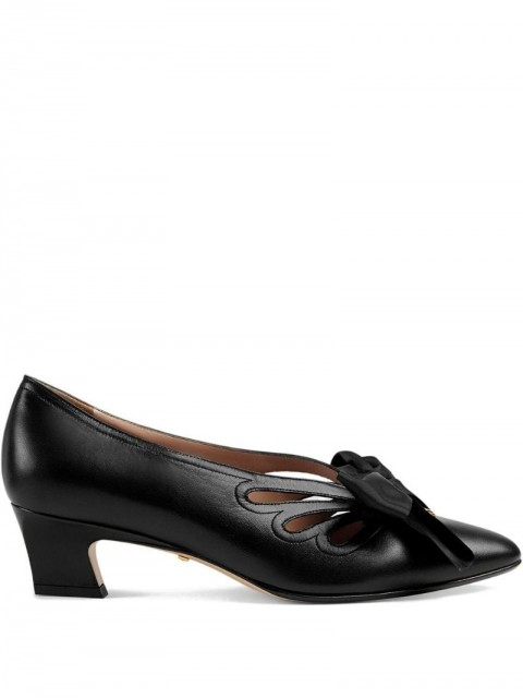 Gucci - Leather pump with bow - women - Leather - 40.5 - Black