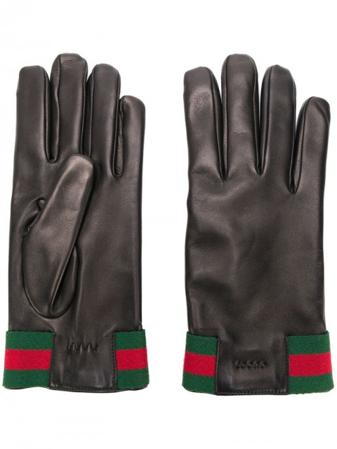 Gucci - Leather gloves with Web - men - Wool/Acrylic/Cashmere/Viscose - 8.5, 9.5 - Black