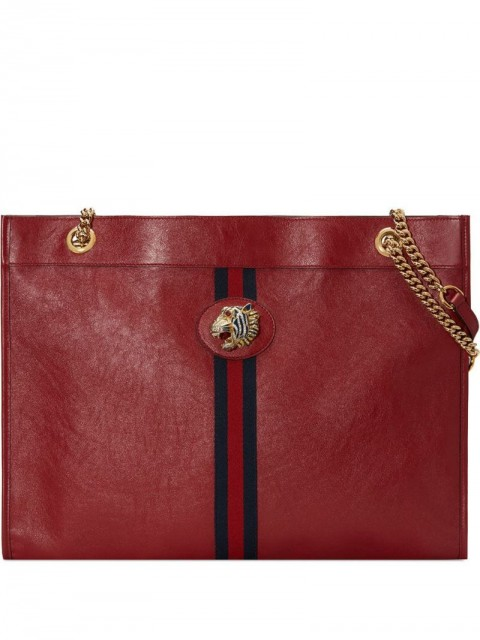 Gucci - Rajah large tote - women - Crystal/Gold Plated Metal/Leather - One Size - Red
