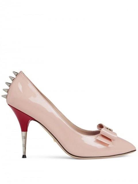 Gucci - Patent leather pump with bow - women - Leather/Patent Leather/Silver Plated Metal - 35, 37, 38, 39.5, 36.5 - PINK