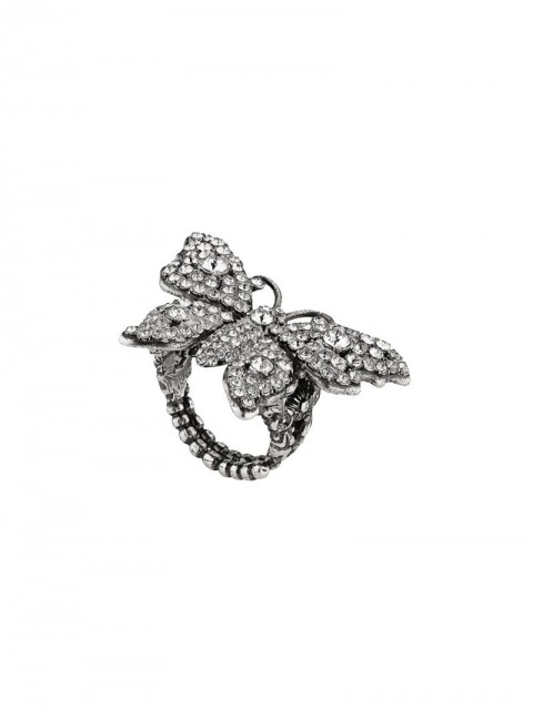 Gucci - Crystal studded butterfly ring in metal - women - metal/Crystal - 50, 56, 53, 59 - SILVER