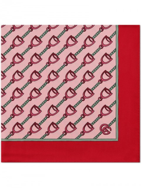 Gucci - Scarf with stirrups print - women - Silk - One Size - PINK
