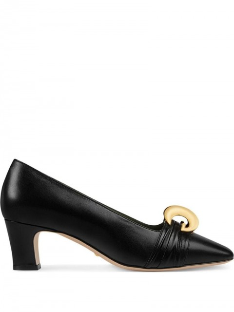 Gucci - Leather mid-heel pump with half moon GG - women - Leather - 35, 39, 40, 36, 36.5, 37, 39.5 - Black