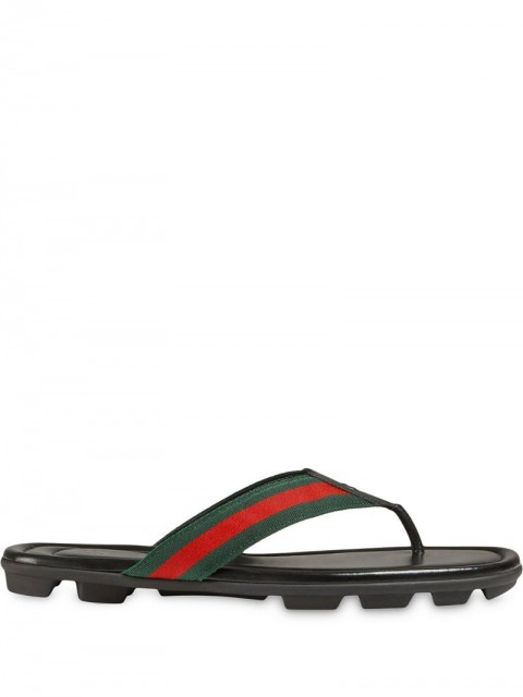 Gucci - Web and leather thong sandal - men - Cotton/Rubber/Leather - 7, 8, 9, 12, 5, 6, 10,5, 12,5 - Black