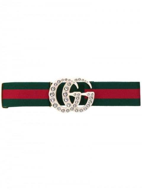 Gucci - Web elastic belt with embellished GG - women - Cotton/PVC/glass - 70, 65 - Green