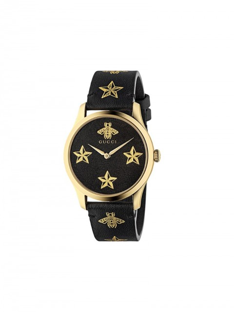 Gucci - G-Timeless, 38 mm watch - unisex - stainless steel/Leather - One Size - Black