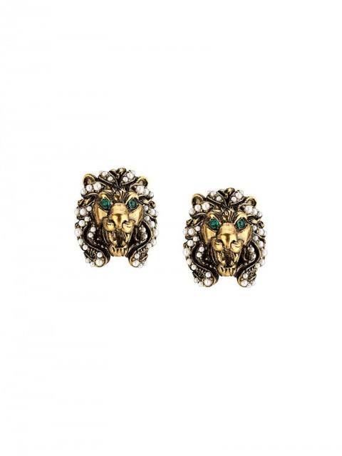 Gucci - lion head earrings - women - glass/metal/Crystal - One Size - GOLD