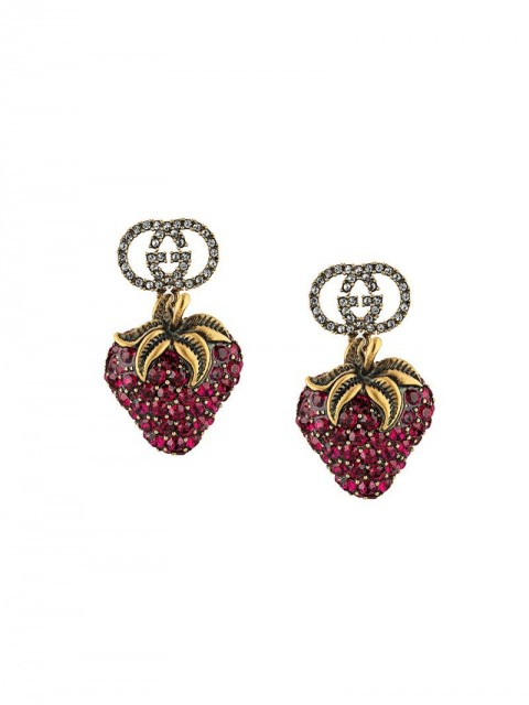 Gucci - strawberry drop earrings - men - Crystal/metal - One Size - GOLD