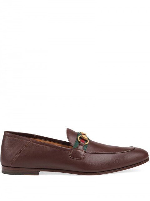 Gucci - Web Horsebit loafers - men - Leather - 7, 8, 6,5, 7,5, 8,5, 9, 9,5, 10, 10,5, 11, 12, 6 - Brown