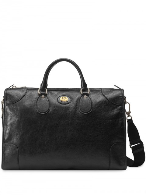 Gucci - Medium soft leather duffle - men - Cotton/Leather/Linen/Flax - One Size - Black