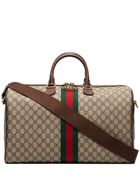 Gucci - GG Supreme holdall - men - Leather/Nylon - One Size - Brown