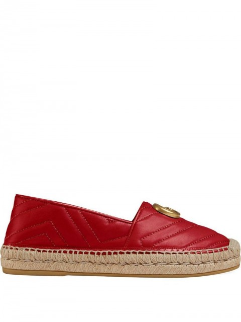 Gucci - Chevron quilted espadrilles - women - Jute/Leather/metal - 36.5, 35, 38, 36, 39.5, 37, 37.5, 38.5 - Red