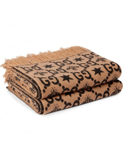 Gucci - GG pattern throw blanket - unisex - Cashmere/Silk/Wool - One Size - Brown