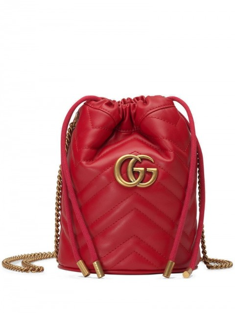 Gucci - GG Marmont mini bucket bag - women - metal/Leather - One Size - Red
