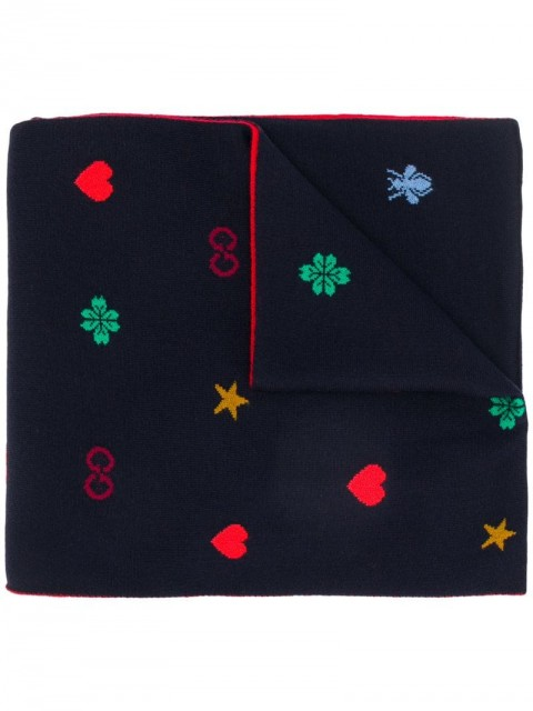Gucci - embroidered logo scarf - men - Wool - One Size - Blue