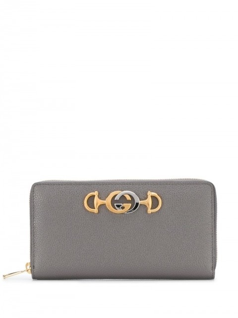 Gucci - G Horsebit large wallet - women - Leather - One Size - Grey