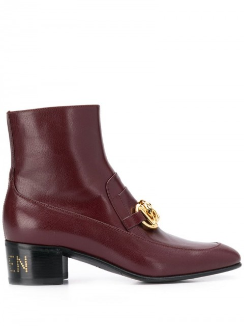 Gucci - horsebit chain ankle boots - women - Leather - 36, 36.5, 38, 38.5, 39.5, 37, 37.5, 40, 35, 35.5 - Red