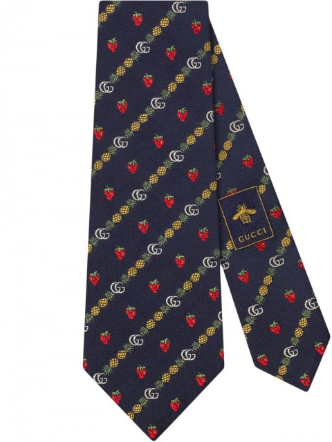 Gucci - Double G pineapple strawberry tie - men - Silk - One Size - Blue