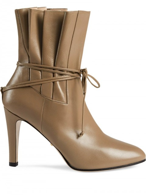 Gucci - gathered bow detail ankle boots - women - Leather - 37.5, 37, 38, 39, 39.5, 40, 40.5 - Neutrals